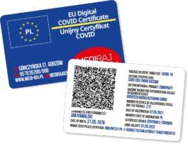 Zamów paszport covidowy. Plastikowy cyfrowy unijny certyfikat Covid-19